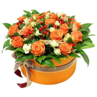 Цветы в коробке «Оранжевый закат»