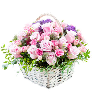 Цветы в корзинке «Ключ к сердцу»